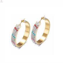 Wholesale Fashion Stainless Steel Crystal Big Gold Hoop Earrings