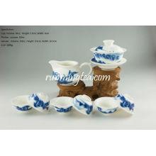 Blue Landscape Pu Er Teaware Set-1 Gaiwan, 1 Pitcher and 6 cups
