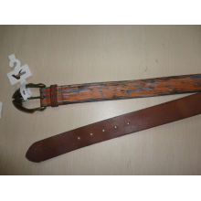 air brush print leather belt