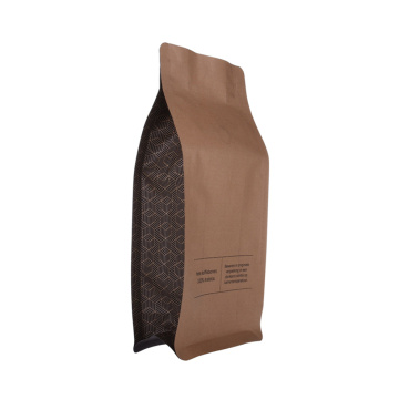 Recykling Kraft Paper Food Coffee Flat Bottom Bag