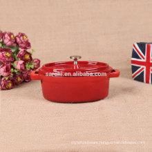 Oval Enamel cast iron mini stock pot