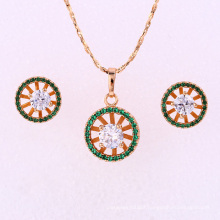 62050 Xuping fashion delicate colourful artificial diamond-bordered pendant hot item gold plated jewelry set