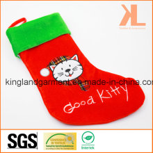 Quality Embroidery/Applique Velvet Good Kitty Cat Style Stocking for Decoration