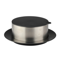 Round Stainless Steel Bowl With Lid And Tray