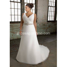 A-line V-neck Chapel Train Organza Over Satin Beading Plus Size Wedding Dress