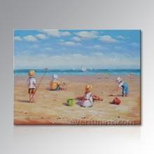 Home Decoração Canvas Art Pintura a óleo das crianças da praia (EIF-246)