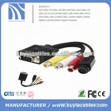 Nouveau type vga 15pin to 4pin S-video 3 rca convertisseur câble adaptateur 1m pour PC TV
