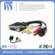 Новый тип vga 15pin to 4pin S-video 3 rca конвертер кабель адаптера 1m для ПК TV