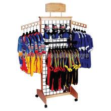 Kundenspezifische Rasterfeld-4-Wege-Holz-Kleidungs-Einzelverkaufs-Kleid-Förderung-bewegliches T-Shirt Fußboden-Ausstellungsstandplatz