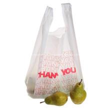 Sacs de t-shirt en plastique Merci sacs d'épicerie