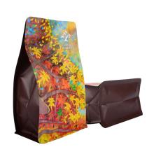 Recyclable Eco-Friendly Kraft Paper Customized Aluminum Foil Ziplock Pouch Block Flat Bottom Coffee Packaging Bags