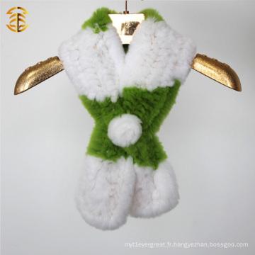 Taille personnalisée en gros et écharpe en peau de lapin rex confectionnée en couleur