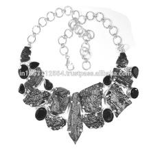 Tektite & Onyx negro piedras preciosas con plata de ley 925 Collar hecho a mano del diseño Collar