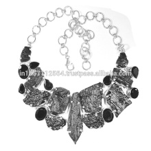 Tektite & Black Onyx Gemstone com 925 Sterling Silver Handmade Design Necklace Jewelry