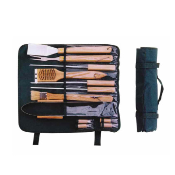 12pcs BBQ Tools with wooden handle