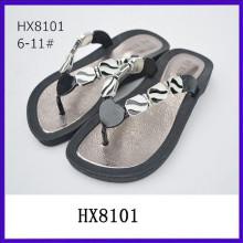 Nuevas sandalias de la jalea de las sandalias de la tapa del tirón de las sandalias de la cuña de la jalea de la tapa del rhinestone