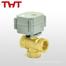 3 way electric actuated mini hot forged brass ball valve