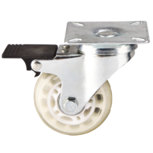 Prateleira de mobiliário leve, rolo giratório de PU transparente com freio