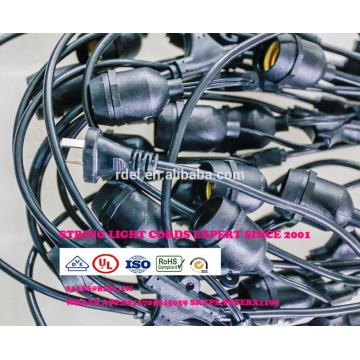 SLT730 extérieur résistant aux intempéries Patio lumières S14 ampoule, noir, 48 'BLANC