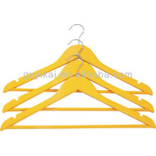 Colored Wooden Shirt Hanger with Round Bar and U Notches