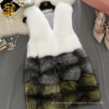 Chaleco de piel de las mujeres chaleco de piel genuina de Fox chaleco de piel de Fox rojo real para las niñas