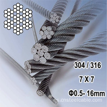 7X7 Dia.0.45-16mm Cable de acero inoxidable