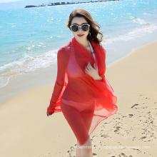 Gros Mode longue grande taille rouge plaine écharpe de plage sarong