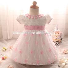 Robe de dentelle bébé fille rose, blanc, couleur rouge un an Baptism Dress Toddler