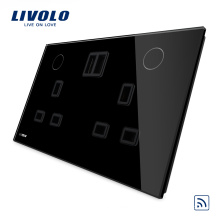 Livolo Black Color Nouveau Remote 13A Double UK Socket USB VL-W2C2UKRU-12