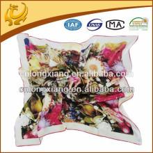 printed square silk satin ladies muffler