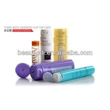 Пустые пластиковые мягкие косметические пробирки с ориентированными откидными крышками