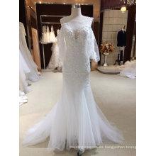 Mermaid Wrap Lace Applique de vestido de boda blanco