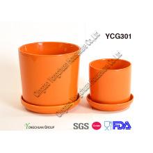 Pots à fleurs glacées en céramique