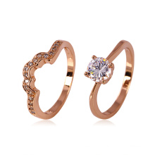 Xuping Rose Gold Color Lover′s Set Ring with Rhinestone