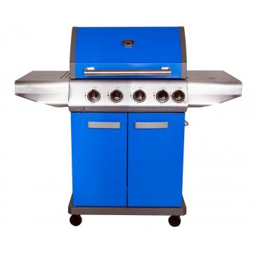 Parrilla de gas de color azul con quemador lateral
