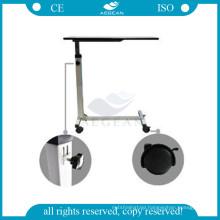 AG-OBT001B movable medical steel frame overbed hospital adjustable tray table