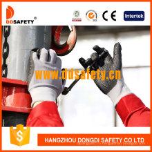 Серый нейлон покрытием Нитрила мини-точки перчатки безопасности CE Dnn143