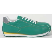 Green Men's Safety Sneakers With White Lace
