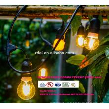 Les lumières de décoration de patio 48 pieds enfoncent l'éclairage de chaîne avec 15 douilles abaissées, rallonge de 10 pieds SLT-176