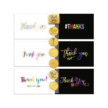72 Danke-Karten-Set und Sealer Sticker-Sortiment, 36 weiße und 36 schwarze Dankeskarten, benutzerdefinierte Dankeskarten