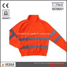 1/4 Zipper Orange Knitted Long Sleeve Shirt
