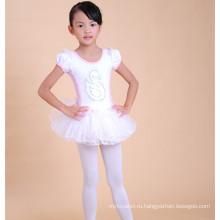 Оптовая цена дети хлопок короткий бальные танцы платье белое балетное платье для детей