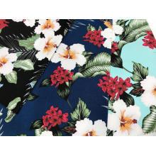 Blumendruck mit Baumwollstretchgewebe