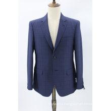 Men′s Tailored Fit Plaid Suit Jacket Dress Suit Tuxedo 100% Wool Check Blazer