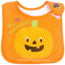 Promotional Cotton Terry Halloween Cute Cartoon Pumpkin Embroidery Applique Baby Bib