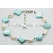 Мода 2012 Joya Blue Pearl Shell из бисера Ножной браслет