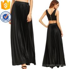 Плиссированная юбка Длина пола с молнией сбоку Производство Оптовая продажа женской одежды (TA3082S)
