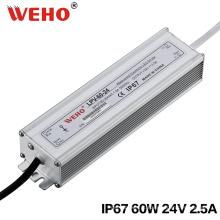 Fonte de alimentação impermeável IP67 do interruptor do diodo emissor de luz de 60W 24V