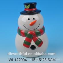 Potes de almacenamiento hermético de Navidad de muñeco de nieve de cerámica