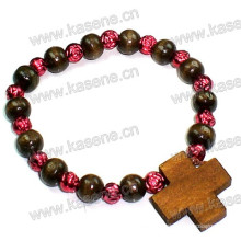 6mm Round Wooden Beads Wrapped Bracelet with Wooden Cross